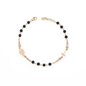 Bracciale rosario agata nera Argento 925