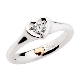 Solitario in Oro Bianco e Oro Rosa con Diamanti
