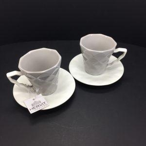 Set da 2 tazzine caffè porcellana grigie