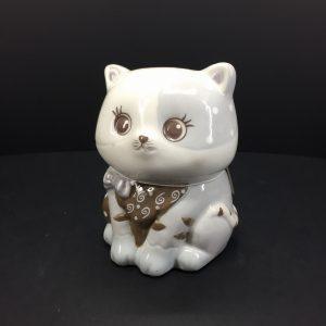 Gattino porcellana dipinto grigio