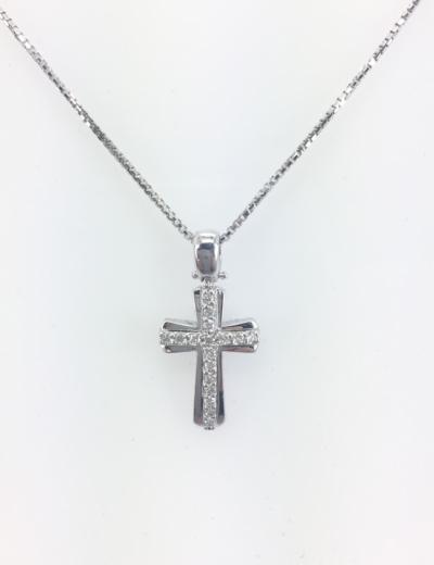 Croce oro bianco con diamanti