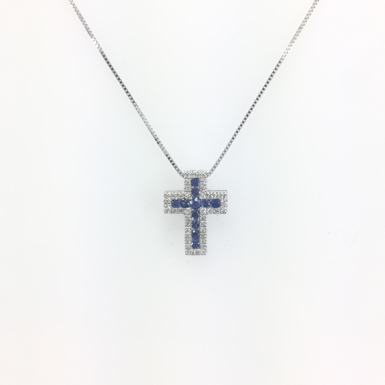 Croce oro bianco con diamanti e zaffiri