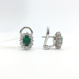 Orecchini in oro bianco con smeraldo e diamanti