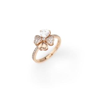 Anello quadricuore con zirconi bianchi, Argento 925