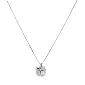 Collana quadricuore con zirconi bianchi, Argento 925