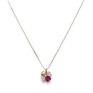 Collana quadricuore con zirconi bianchi e viola, Argento 925 rosè