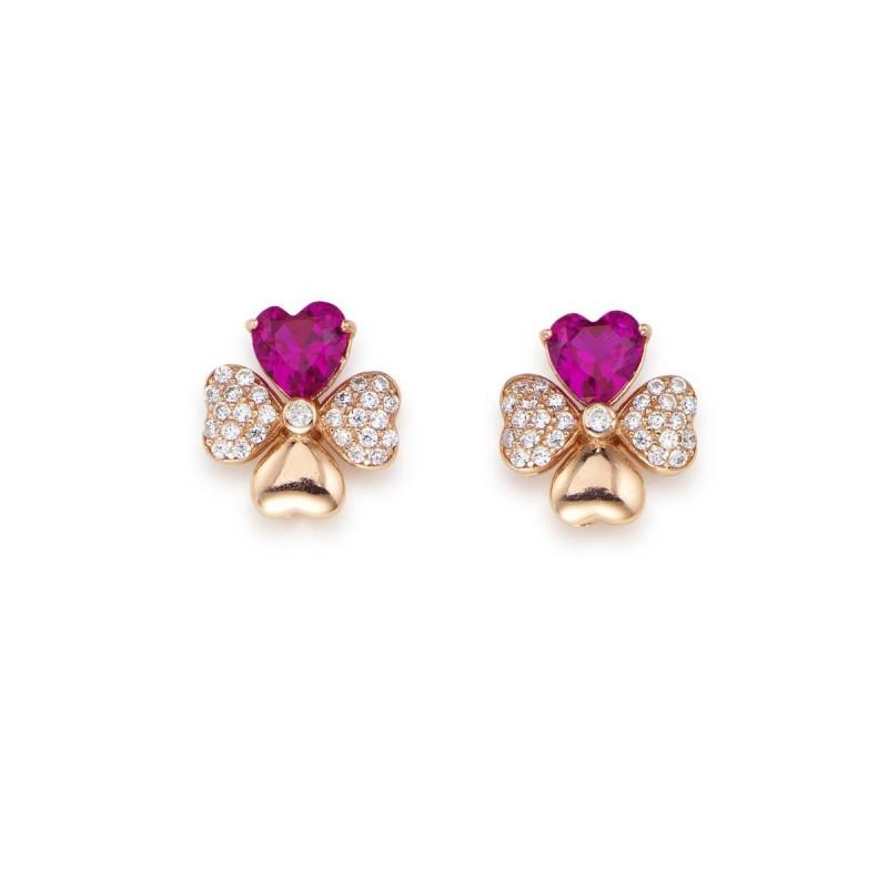 Orecchini quadricuore con zirconi bianchi e viola, Argento 925 rosè