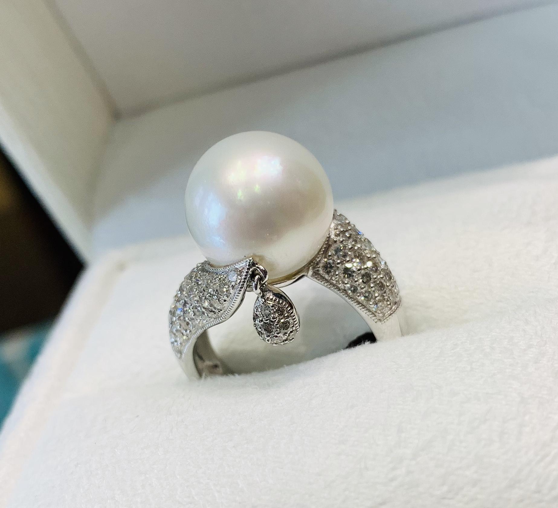 Anello Perla Australiana e diamanti