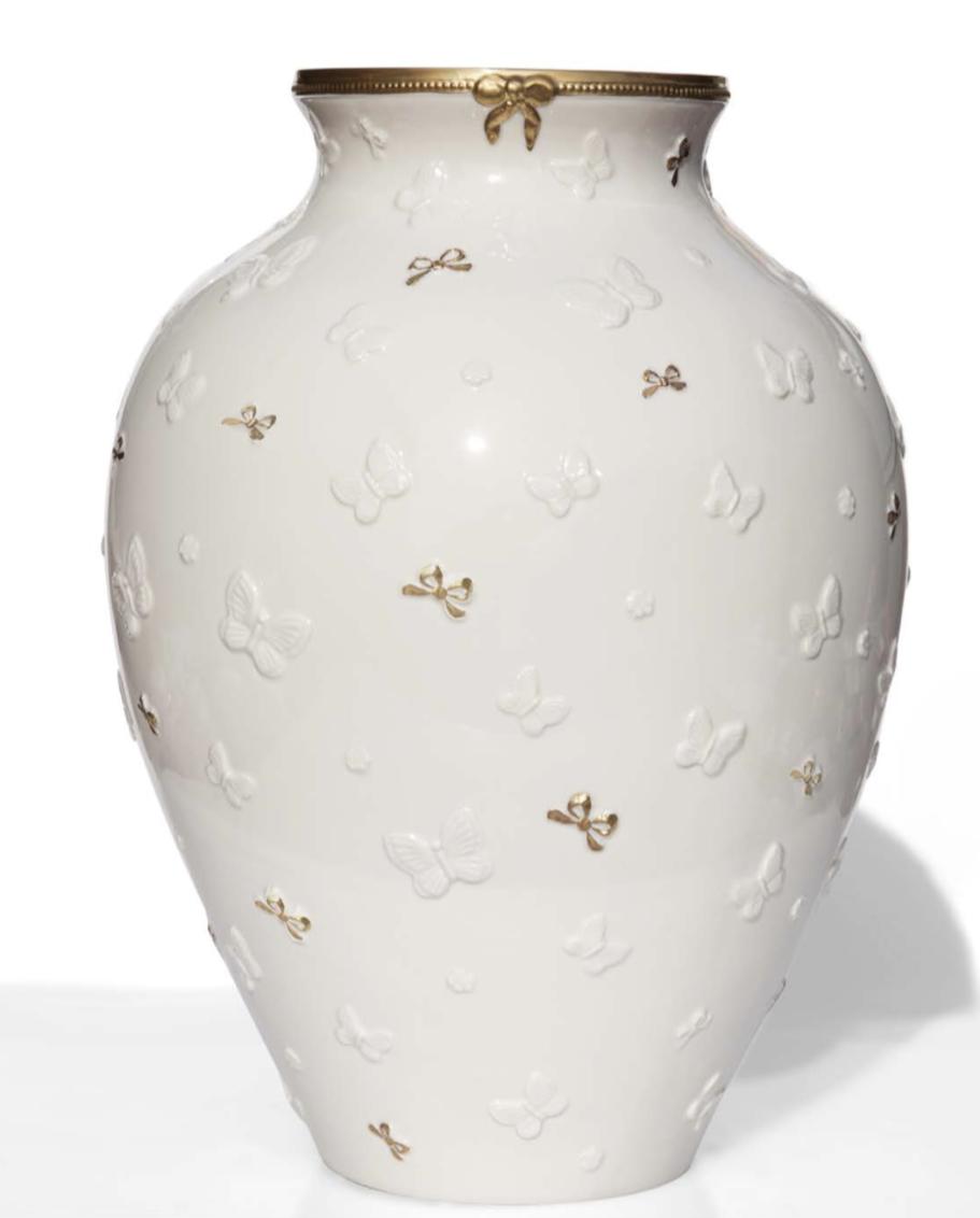 Vaso Butterfly Capodimonte e oro zecchino